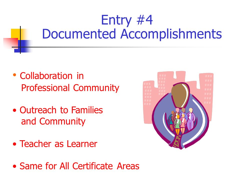 Collaboration in Professional Community Outreach to Families and Community Teacher as Learner Same for All Certificate Areas Entry #4 Documented Accomplishments