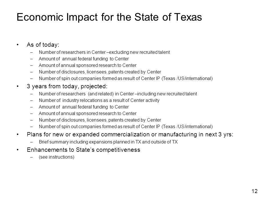 12 Economic Impact for the State of Texas As of today: –Number of researchers in Center –excluding new recruited talent –Amount of annual federal funding to Center –Amount of annual sponsored research to Center –Number of disclosures, licensees, patents created by Center –Number of spin out companies formed as result of Center IP (Texas /US/international) 3 years from today, projected: –Number of researchers (and related) in Center –including new recruited talent –Number of industry relocations as a result of Center activity –Amount of annual federal funding to Center –Amount of annual sponsored research to Center –Number of disclosures, licensees, patents created by Center –Number of spin out companies formed as result of Center IP (Texas /US/international) Plans for new or expanded commercialization or manufacturing in next 3 yrs: –Brief summary including expansions planned in TX and outside of TX Enhancements to States competitiveness –(see instructions)