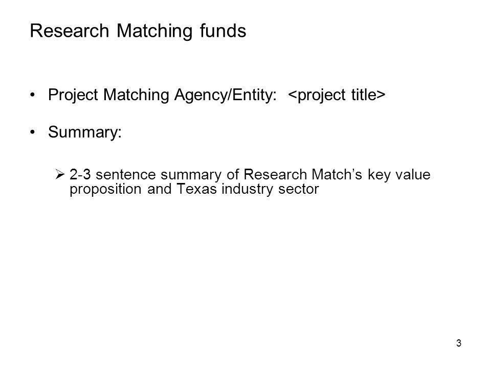 Research Matching funds Project Matching Agency/Entity: Summary: 2-3 sentence summary of Research Matchs key value proposition and Texas industry sector 3