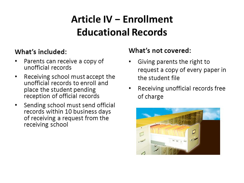 Article IV Enrollment Educational Records Whats included: Parents can receive a copy of unofficial records Receiving school must accept the unofficial records to enroll and place the student pending reception of official records Sending school must send official records within 10 business days of receiving a request from the receiving school Whats not covered: Giving parents the right to request a copy of every paper in the student file Receiving unofficial records free of charge