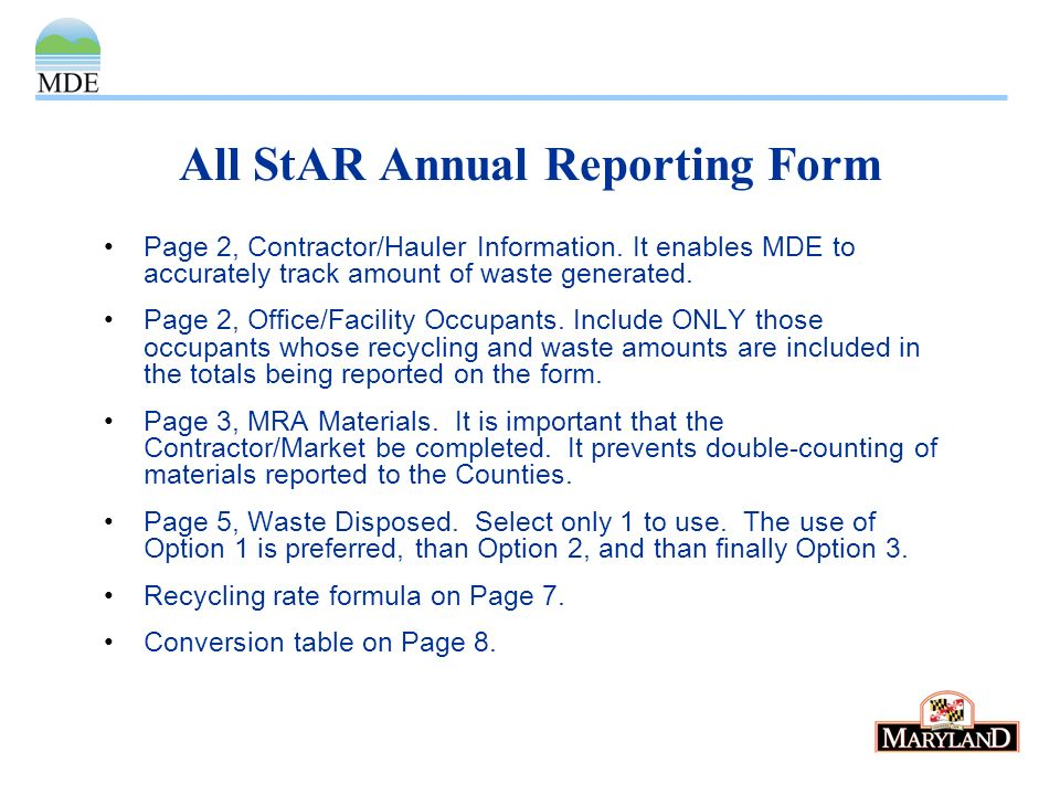 All StAR Annual Reporting Form Page 2, Contractor/Hauler Information.