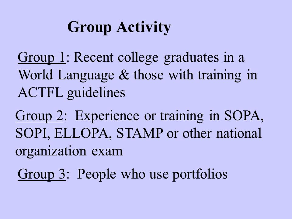 Group Activity Group 1: Recent college graduates in a World Language & those with training in ACTFL guidelines Group 2: Experience or training in SOPA, SOPI, ELLOPA, STAMP or other national organization exam Group 3: People who use portfolios