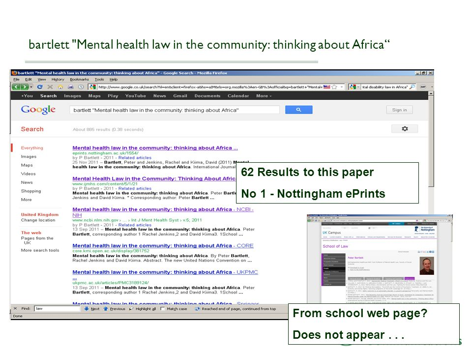 bartlett Mental health law in the community: thinking about Africa 62 Results to this paper No 1 - Nottingham ePrints From school web page.