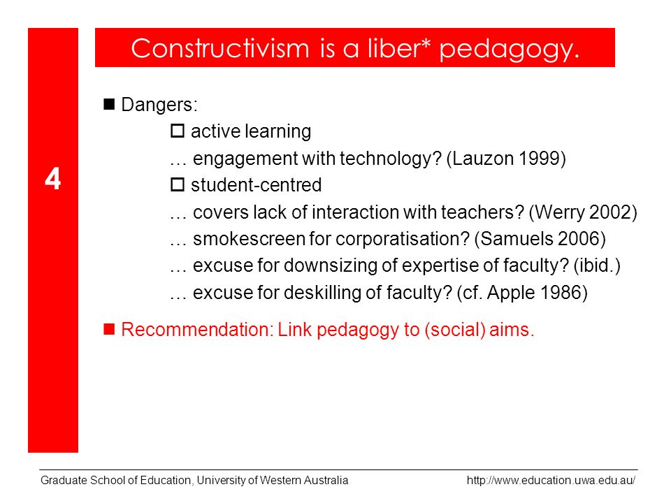Graduate School of Education, University of Western Australia   Dangers: active learning … engagement with technology.