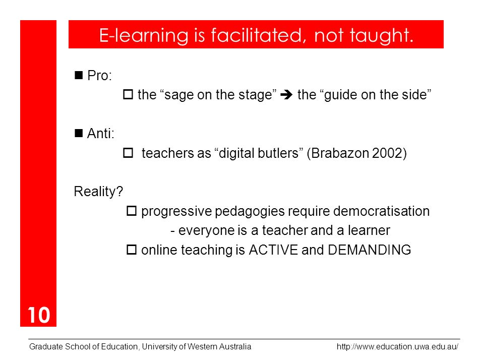 Graduate School of Education, University of Western Australia   Pro: the sage on the stage the guide on the side Anti: teachers as digital butlers (Brabazon 2002) Reality.