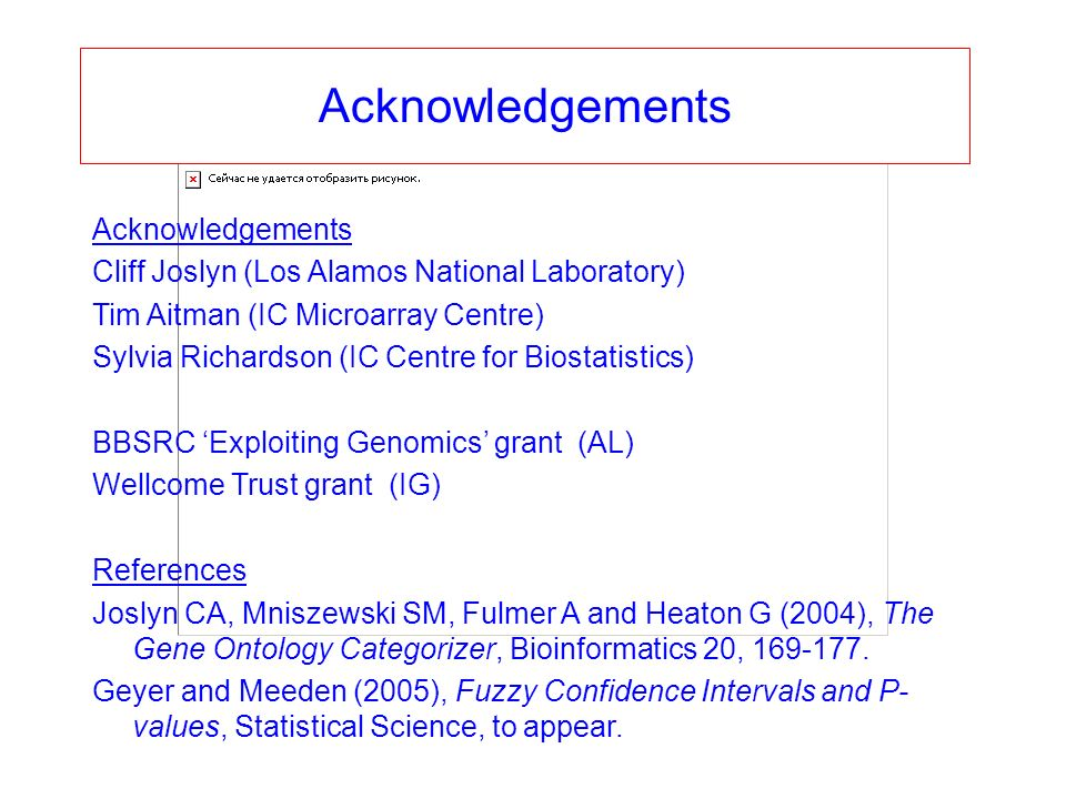 Acknowledgements Cliff Joslyn (Los Alamos National Laboratory) Tim Aitman (IC Microarray Centre) Sylvia Richardson (IC Centre for Biostatistics) BBSRC Exploiting Genomics grant (AL) Wellcome Trust grant (IG) References Joslyn CA, Mniszewski SM, Fulmer A and Heaton G (2004), The Gene Ontology Categorizer, Bioinformatics 20,