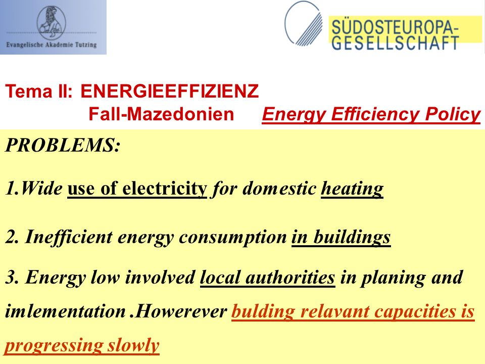PROBLEMS: 1.Wide use of electricity for domestic heating 2.