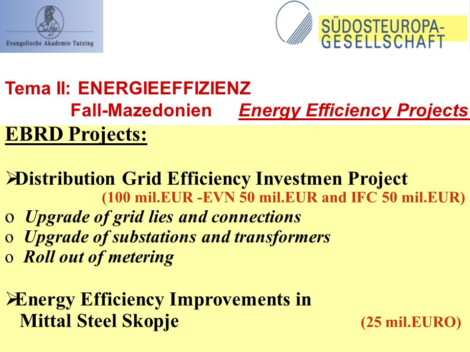 EBRD Projects: Distribution Grid Efficiency Investmen Project (100 mil.EUR -EVN 50 mil.EUR and IFC 50 mil.EUR) o Upgrade of grid lies and connections o Upgrade of substations and transformers o Roll out of metering Energy Efficiency Improvements in Mittal Steel Skopje (25 mil.EURO) Tema II: ENERGIEEFFIZIENZ Fall-Mazedonien Energy Efficiency Projects