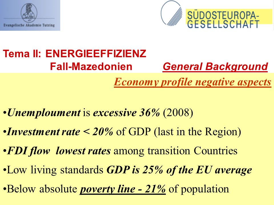 Economy profile negative aspects Unemploument is excessive 36% (2008) Investment rate < 20% of GDP (last in the Region) FDI flow lowest rates among transition Countries Low living standards GDP is 25% of the EU average Below absolute poverty line - 21% of population Tema II: ENERGIEEFFIZIENZ Fall-Mazedonien General Background