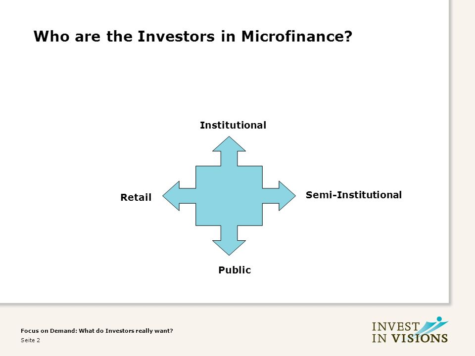 Focus on Demand: What do Investors really want. Seite 2 Who are the Investors in Microfinance.