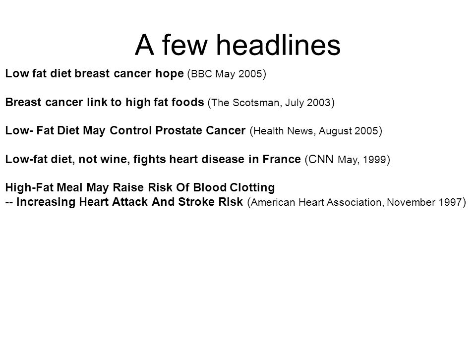 A few headlines Low fat diet breast cancer hope ( BBC May 2005 ) Breast cancer link to high fat foods ( The Scotsman, July 2003 ) Low- Fat Diet May Control Prostate Cancer ( Health News, August 2005 ) Low-fat diet, not wine, fights heart disease in France (CNN May, 1999 ) High-Fat Meal May Raise Risk Of Blood Clotting -- Increasing Heart Attack And Stroke Risk ( American Heart Association, November 1997 )