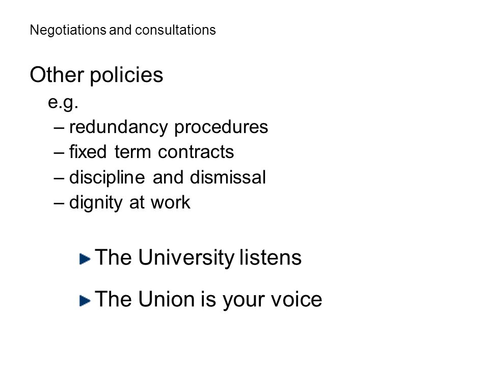 Negotiations and consultations Other policies e.g.