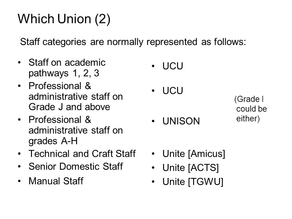 Which Union (2) Staff on academic pathways 1, 2, 3 Professional & administrative staff on Grade J and above Professional & administrative staff on grades A-H Technical and Craft Staff Senior Domestic Staff Manual Staff UCU UNISON Unite [Amicus] Unite [ACTS] Unite [TGWU] Staff categories are normally represented as follows: (Grade I could be either)