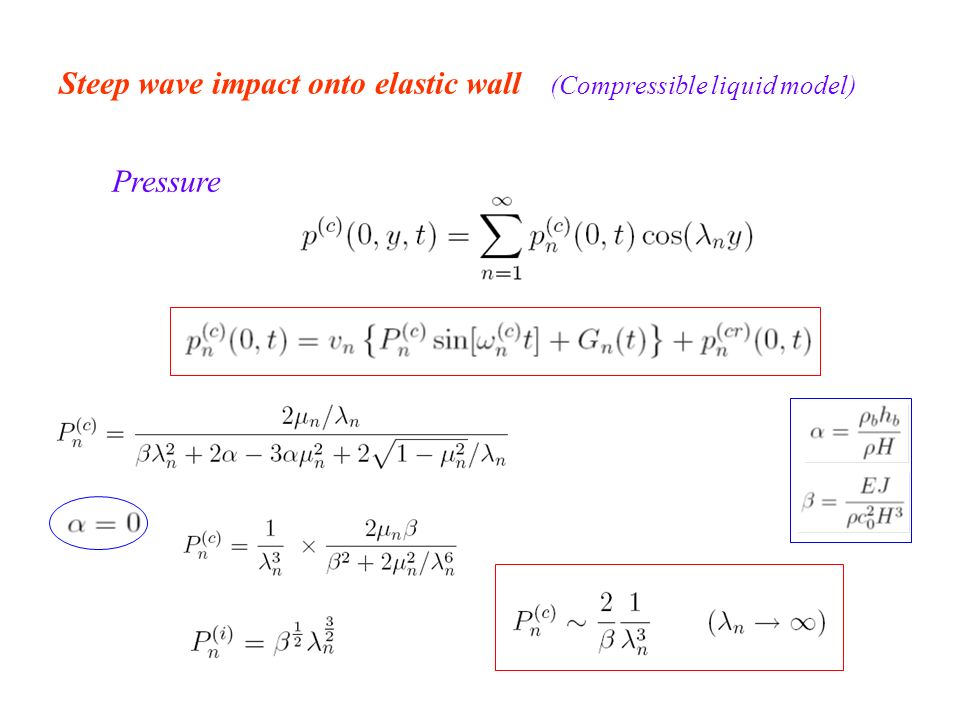Steep wave impact onto elastic wall (Compressible liquid model) Pressure