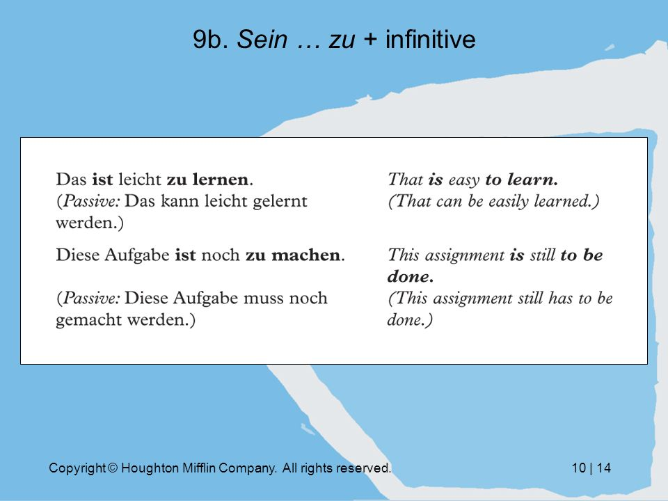 Copyright © Houghton Mifflin Company. All rights reserved.10 | 14 9b. Sein … zu + infinitive