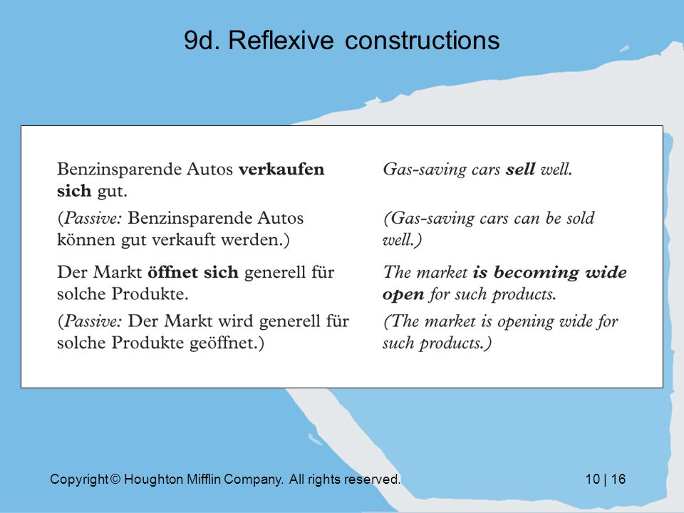 Copyright © Houghton Mifflin Company. All rights reserved.10 | 16 9d. Reflexive constructions
