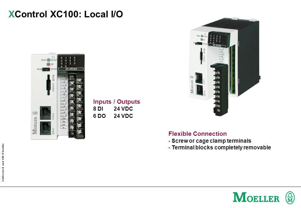 Schutzvermerk nach DIN 34 beachten Inputs / Outputs 8 DI24 VDC 6 DO 24 VDC Flexible Connection - Screw or cage clamp terminals - Terminal blocks completely removable XControl XC100: Local I/O