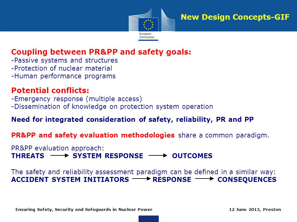 Ensuring Safety, Security and Safeguards in Nuclear Power 12 June 2013, Preston Coupling between PR&PP and safety goals: -Passive systems and structures -Protection of nuclear material -Human performance programs Potential conflicts: -Emergency response (multiple access) -Dissemination of knowledge on protection system operation Need for integrated consideration of safety, reliability, PR and PP PR&PP and safety evaluation methodologies share a common paradigm.