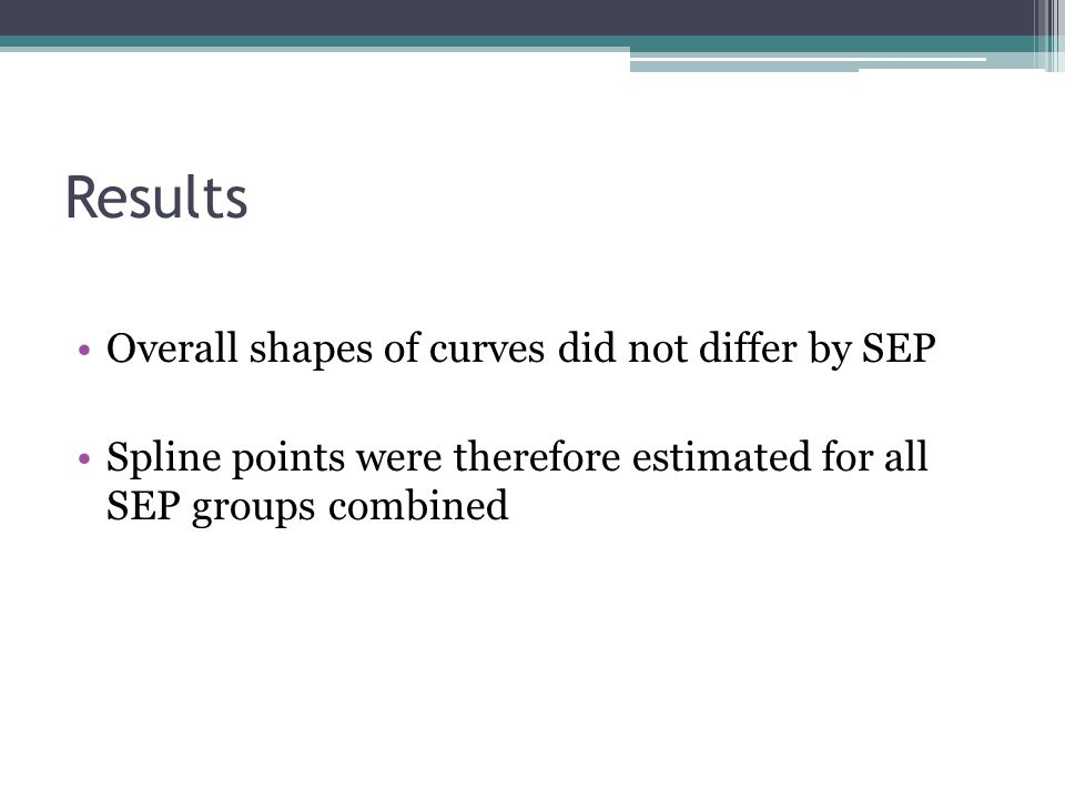 Results Overall shapes of curves did not differ by SEP Spline points were therefore estimated for all SEP groups combined