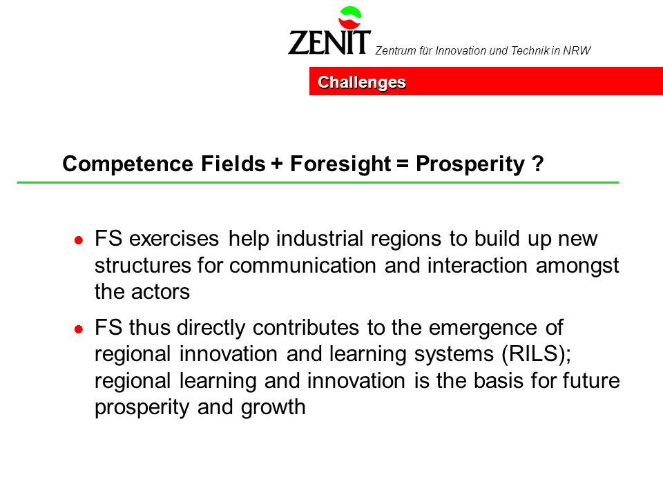 Zentrum für Innovation und Technik in NRW Competence Fields + Foresight = Prosperity .