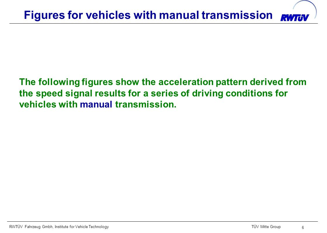 RWTÜV Fahrzeug Gmbh, Institute for Vehicle TechnologyTÜV Mitte Group 6 Figures for vehicles with manual transmission The following figures show the acceleration pattern derived from the speed signal results for a series of driving conditions for vehicles with manual transmission.