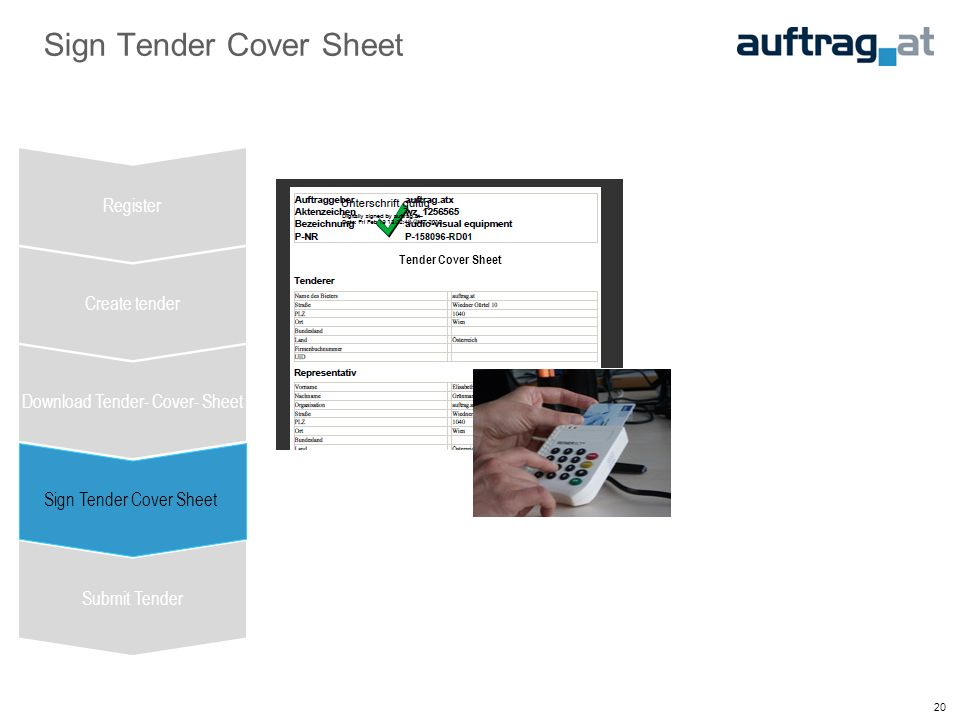 20 Sign Tender Cover Sheet Register Create tender Download Tender- Cover- Sheet Sign Tender Cover Sheet Submit Tender Tender Cover Sheet