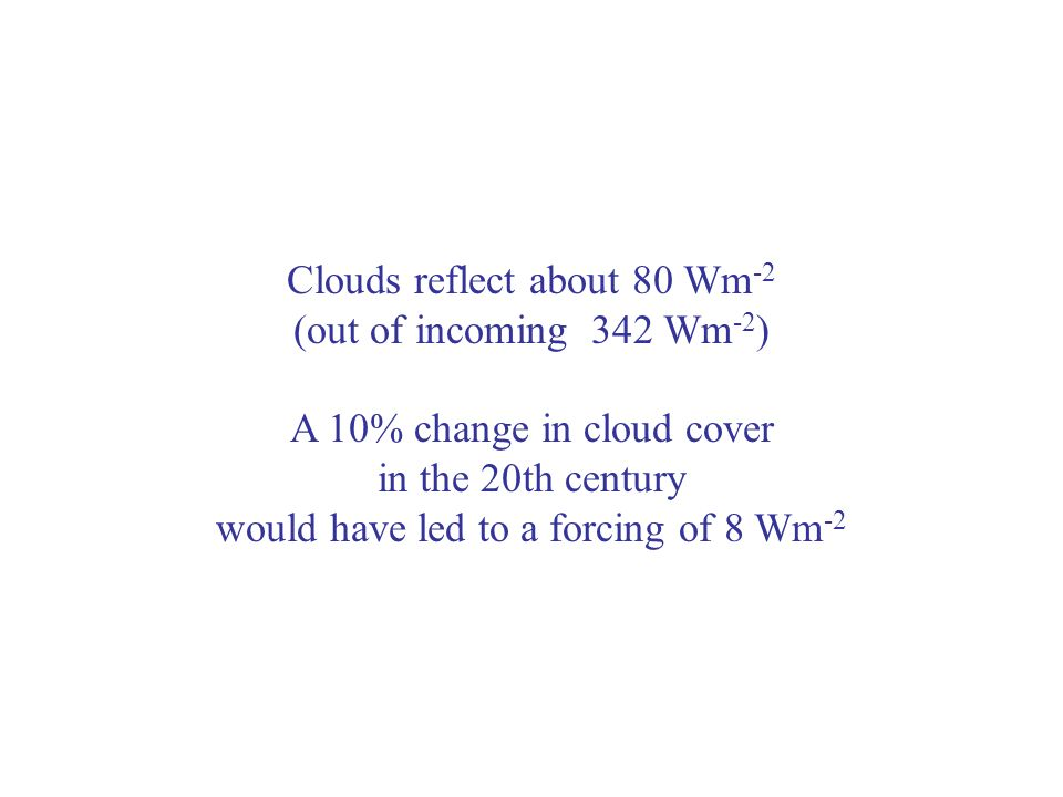 Clouds reflect about 80 Wm -2 (out of incoming 342 Wm -2 ) A 10% change in cloud cover in the 20th century would have led to a forcing of 8 Wm -2