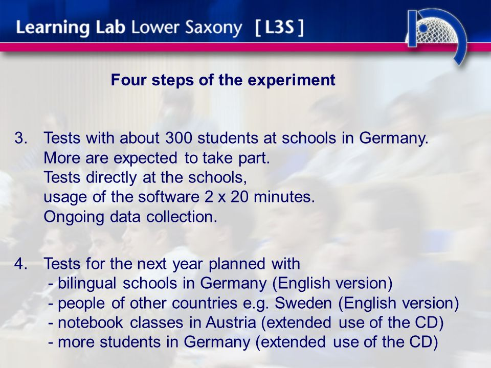 Four steps of the experiment 3.Tests with about 300 students at schools in Germany.