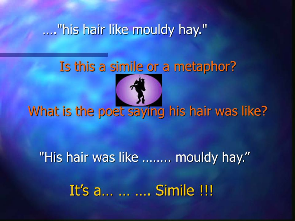 …. his hair like mouldy hay. Is this a simile or a metaphor.