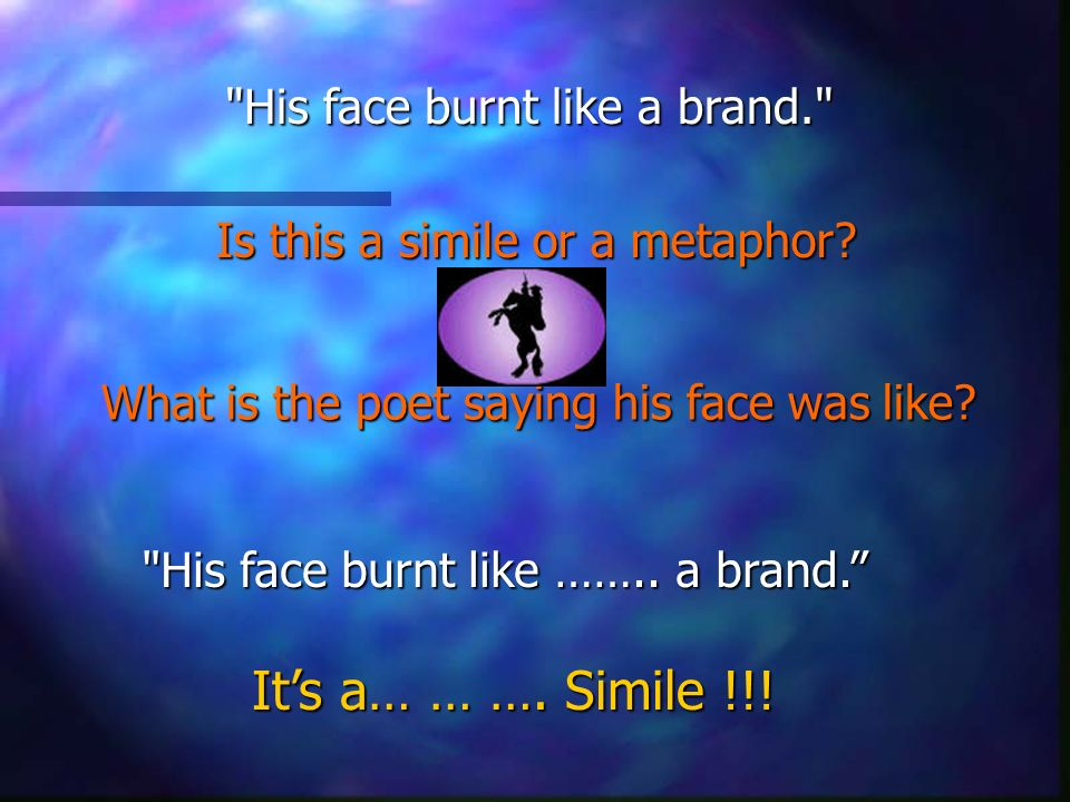 His face burnt like a brand. Is this a simile or a metaphor.
