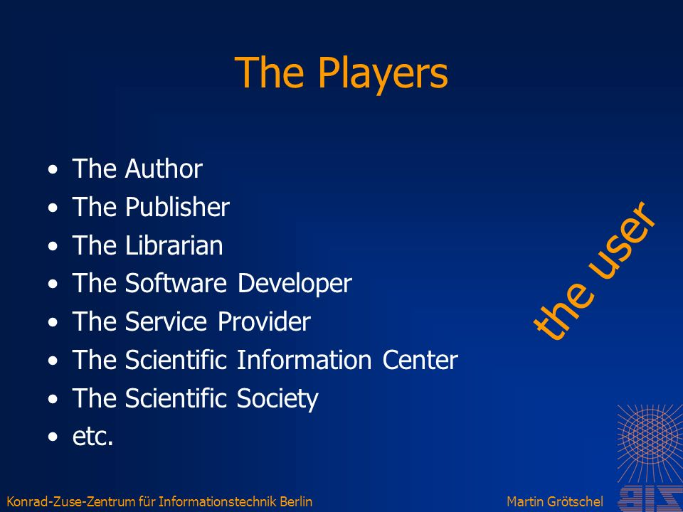Konrad-Zuse-Zentrum für Informationstechnik BerlinMartin Grötschel The Players The Author The Publisher The Librarian The Software Developer The Service Provider The Scientific Information Center The Scientific Society etc.