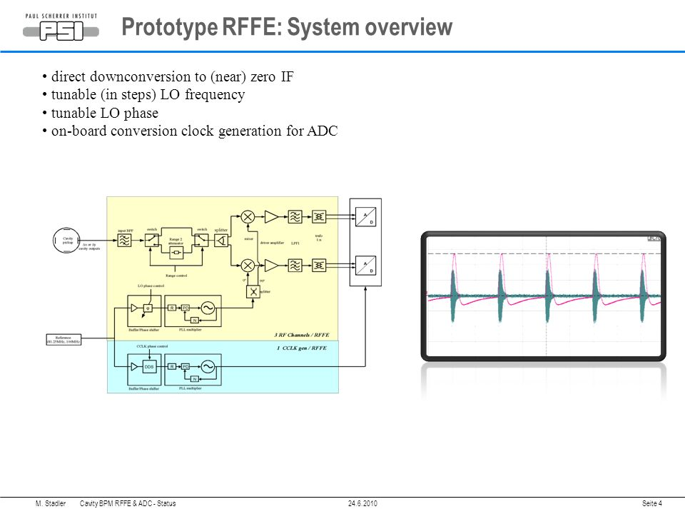 Prototype RFFE: System overview Seite 4 direct downconversion to (near) zero IF tunable (in steps) LO frequency tunable LO phase on-board conversion clock generation for ADC M.