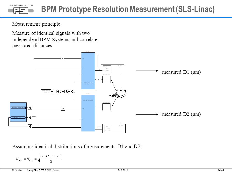 BPM Prototype Resolution Measurement (SLS-Linac) Seite 9 Measurement principle: Measure of identical signals with two independend BPM Systems and correlate measured distances measured D2 (μm) measured D1 (μm) Assuming identical distributions of measurements D1 and D2: M.