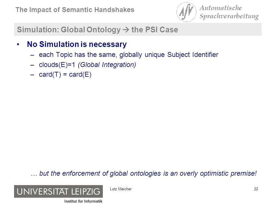 Institut für Informatik The Impact of Semantic Handshakes Automatische Sprachverarbeitung 22Lutz Maicher Simulation: Global Ontology the PSI Case No Simulation is necessary –each Topic has the same, globally unique Subject Identifier –clouds(E)=1 (Global Integration) –card(T) = card(E) … but the enforcement of global ontologies is an overly optimistic premise!