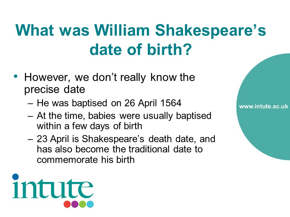 What was William Shakespeares date of birth.