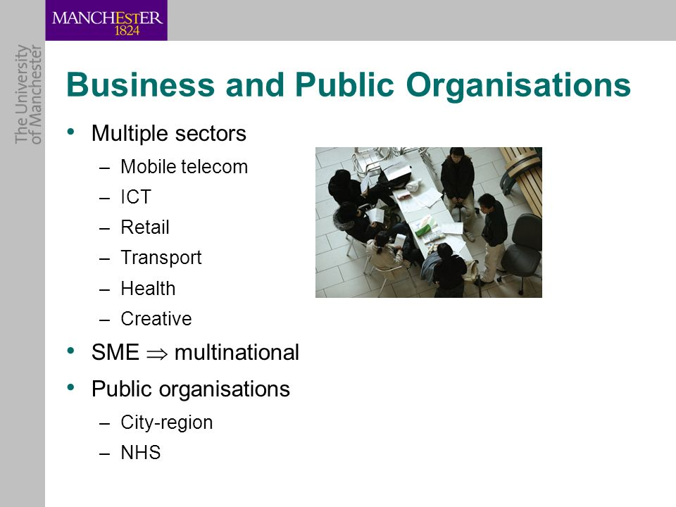 Business and Public Organisations Multiple sectors –Mobile telecom –ICT –Retail –Transport –Health –Creative SME multinational Public organisations –City-region –NHS