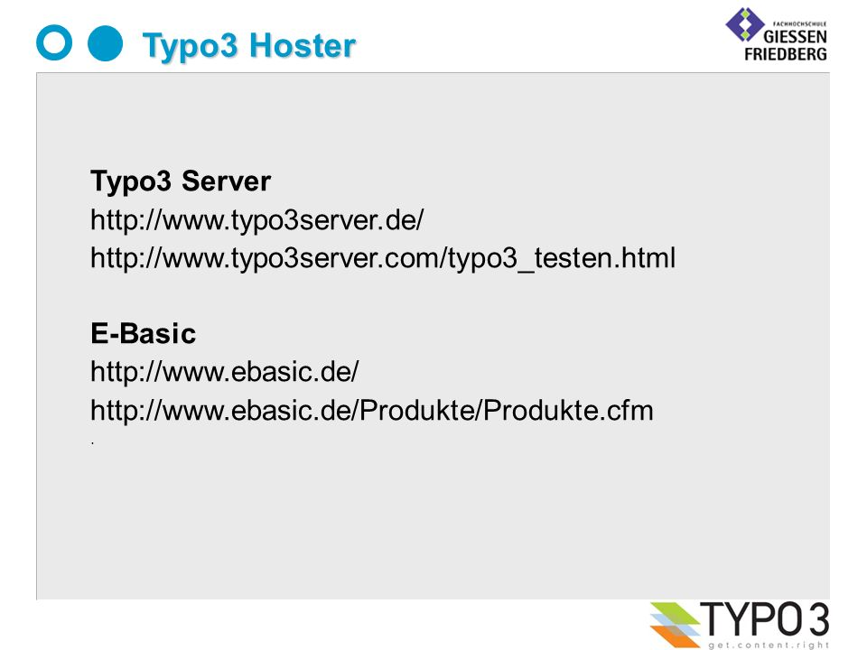 Typo3 Hoster Typo3 Server     E-Basic