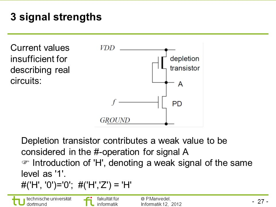 - 27 - technische universität dortmund fakultät für informatik P.Marwedel, Informatik 12, 2012 3 signal strengths Current values insufficient for describing real circuits: Depletion transistor contributes a weak value to be considered in the #-operation for signal A Introduction of H , denoting a weak signal of the same level as 1 .