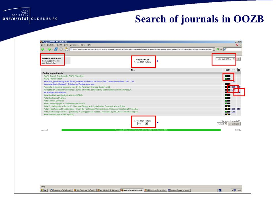 Search of journals in OOZB