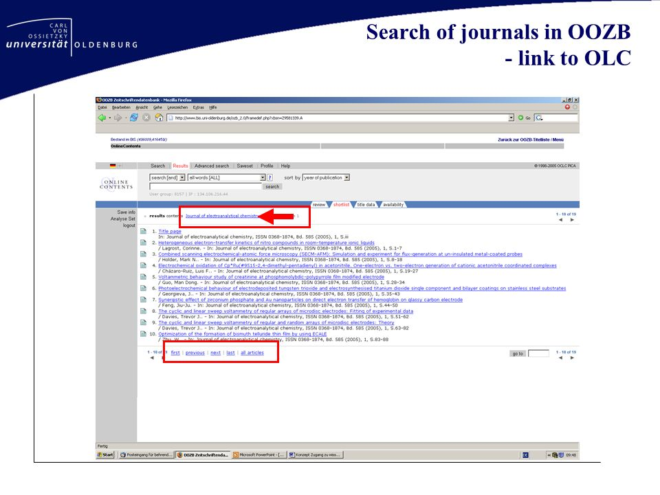 Search of journals in OOZB - link to OLC