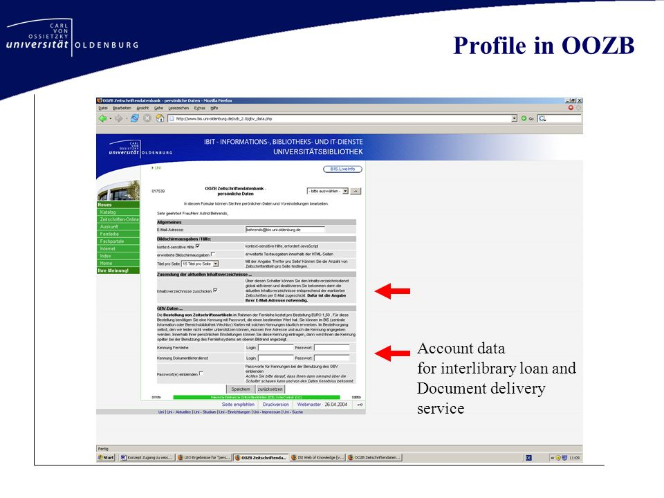 Account data for interlibrary loan and Document delivery service