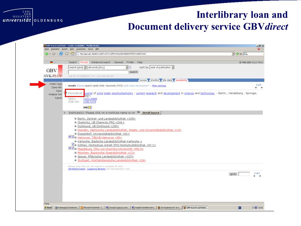 Interlibrary loan and Document delivery service GBVdirect