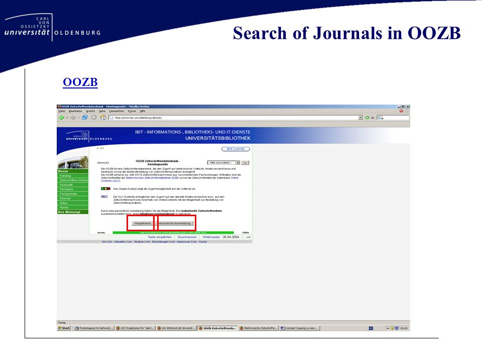 Search of Journals in OOZB OOZB