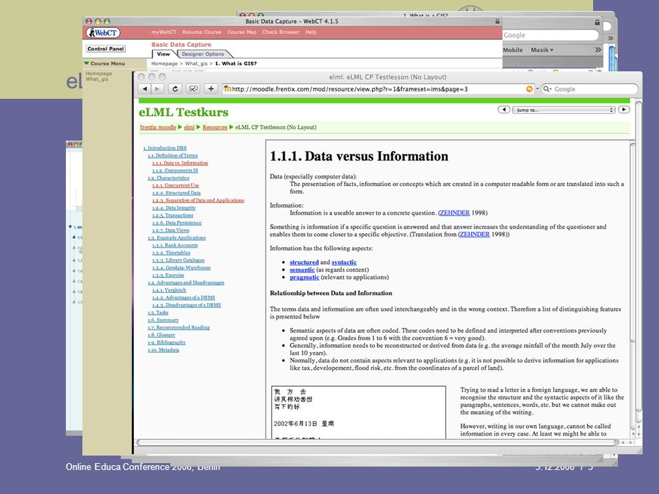 / 5Online Educa Conference 2008, Berlin eLML transformations: XHTML eLML generates valid XHTML 1.0 code Define your own template using template builder tool Both SOCRM and IMS Content Package is supported Transformation process can be configured YAML CSS framwork supported