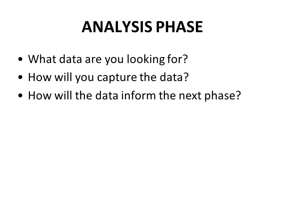 ANALYSIS PHASE What data are you looking for. How will you capture the data.