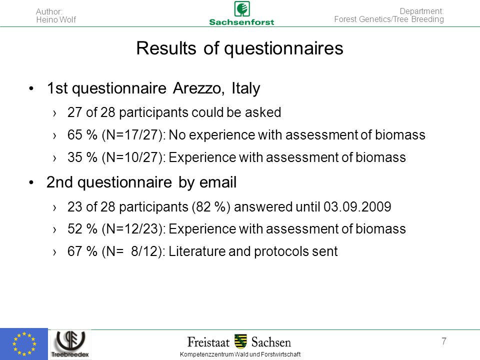 Kompetenzzentrum Wald und Forstwirtschaft Author: Heino Wolf 7 Department: Forest Genetics/Tree Breeding Results of questionnaires 1st questionnaire Arezzo, Italy 27 of 28 participants could be asked 65 % (N=17/27): No experience with assessment of biomass 35 % (N=10/27): Experience with assessment of biomass 2nd questionnaire by  23 of 28 participants (82 %) answered until % (N=12/23): Experience with assessment of biomass 67 % (N= 8/12): Literature and protocols sent
