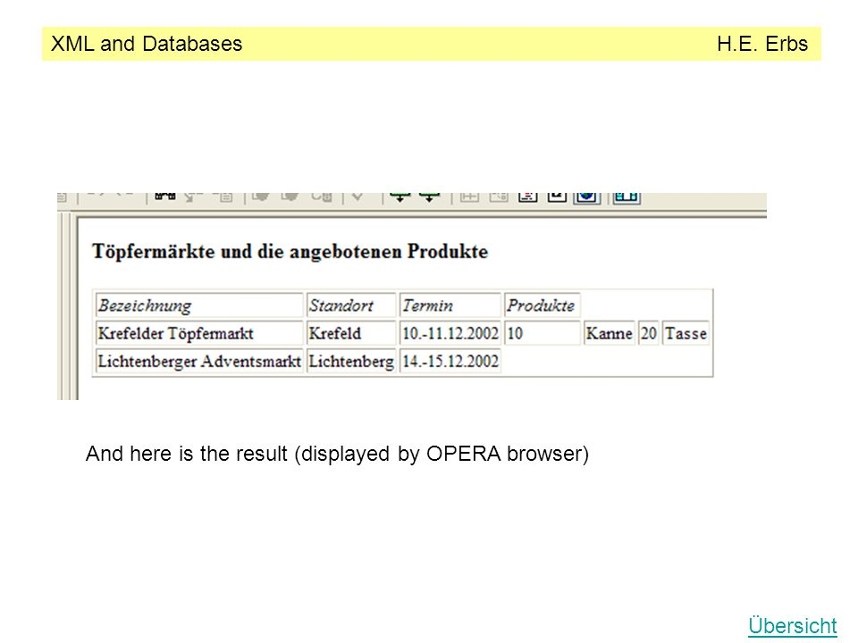 XML and Databases H.E. Erbs Übersicht And here is the result (displayed by OPERA browser)