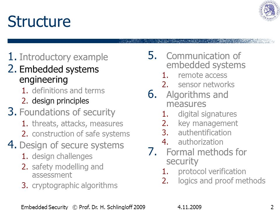 Embedded Security © Prof. Dr. H. Schlingloff Structure 1.