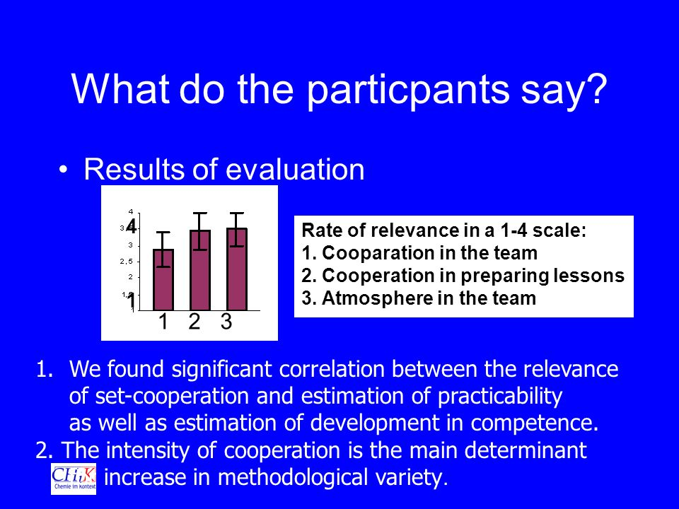 What do the particpants say. Results of evaluation Rate of relevance in a 1-4 scale: 1.