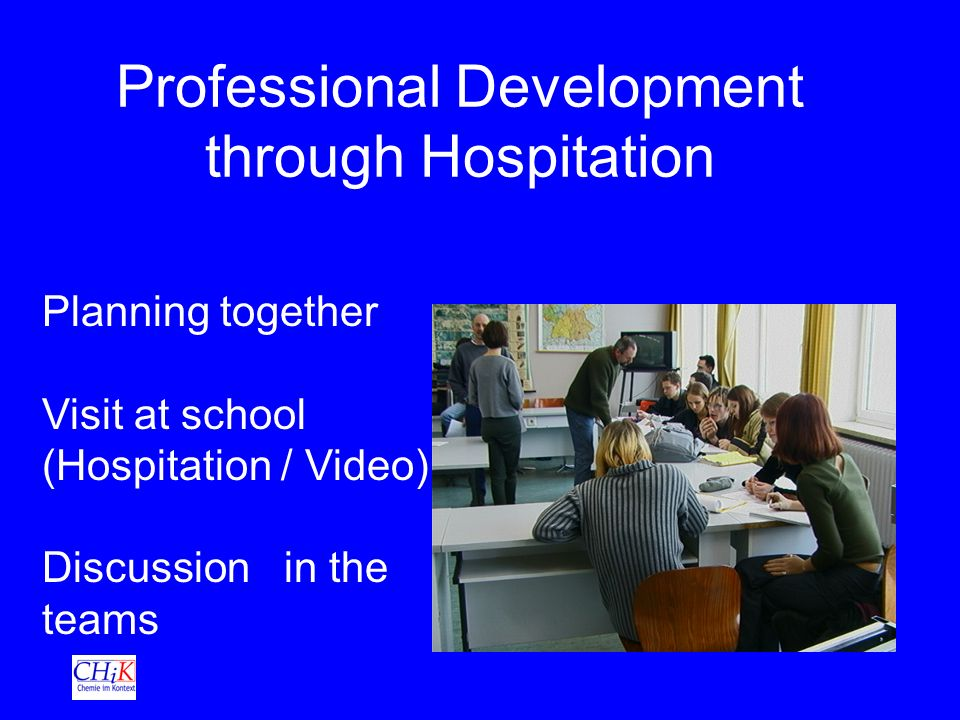 Professional Development through Hospitation Planning together Visit at school (Hospitation / Video) Discussion in the teams